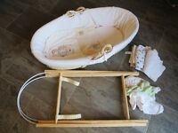 Moses basket, stand, bedding and mattress