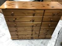Large pine chest of drawers with wooden runners