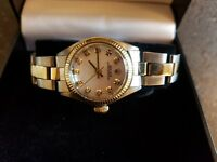 ROLEX non date oyster ladies watch * 6619 * diamond dot * 18ct bi metal * not datejust