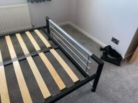 Metal slatted double bed frame