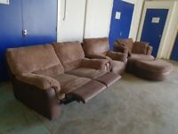 DFS MOCHA EVOLUTION SUITE 2 SEATER RECLINING SOFA ARMCHAIR & SWIVEL CUDDLE CHAIR & HALF MOON POUFFE
