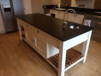 Kitchen Island Unit - Martin Moore. Black Granite tops. small sink.