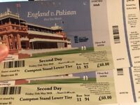Day 2 England v Pakistan Lords Test - 2 Tickets @ 60 each.