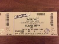 Run The Jewels at O2 Brixton Academy 11th November gig. Standing Ticket
