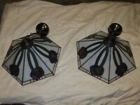 2 Leaded CR Mackintosh style light fittings