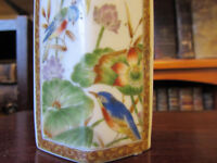 Signed Chinese octagonal very decorative vase. Birds, grass, flowers painted. Vintage.
