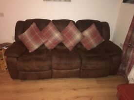 3+2 seater brown recliner sofa in good condition