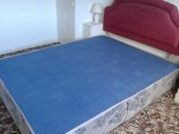 King size bed base blue and white patterned is looking for a good home.