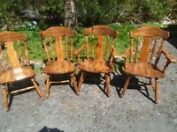 2 farmhouse chairs with 2 carvers.