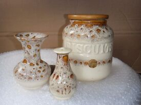 "Fosters ""honeycombe"" biscuit barrel/ vase and pepper pot"