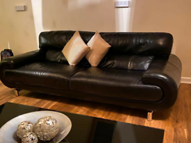 ** 3+2+1+1 SWIVEL BLACK LEATHER SOFA WITH COFFEE TABLE **