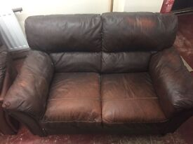 Brown leather 3 seater and 2 seater sofa