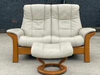 STUNNING EKORNES STRESSLESS TWO SEATER SOFA AND FOOTSTOOL