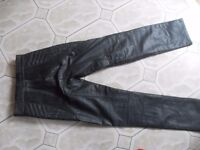 LADIES FRANK THOMAS LEATHER BIKER TROUSERS SIZE 28 PLUS BOOTS AND JACKET