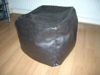 """BROWN POUFFE BEAN BAG 16"""" LEATHER SQUARE"""