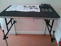 Dog grooming table, scissors, blades, dryer all excellent condition