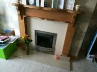 Fire surround and marble backing snd hearth and gas fire
