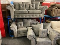 NEW - EX DISPLAY GERY / SILVER VELVET CHENILLE 3 + 2 + 1 SEATER SOFAS / SOFA 70% Off RRP