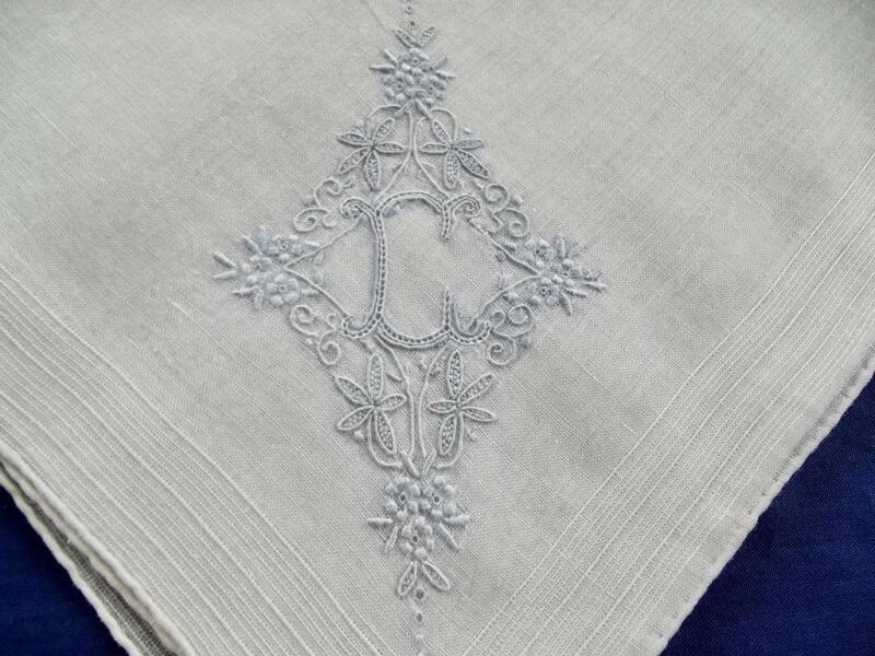 Vintage Madeira Sheer Cotton Handkerchief FAB Hand Embroidered Blue Monogram C