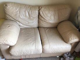 Cream leather two seater sofa FREE