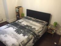 Double bed Ikea MALM with Ikea mattress and 2 side tables with green lights