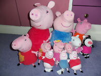 Plush giant Peppa pig and George both talking. Also many ty beanie peppa toys 12 in total, bundle.