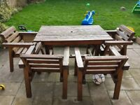 Wood garden table and 4 chairs