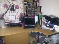 Corner desk and filing cabinet