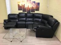 Extra Long Reclining Black Leather Corner Sofa