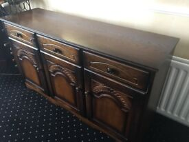 Solid Oak sideboard with matching corner unit and hi fi cabinet