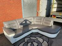 Grey & white DFS leather corner sofa delivery 🚚 sofa suite couch furniture