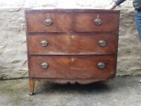Mahogany 4 drawer chest with marquetry around the top