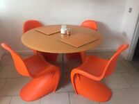 Orange dining table & chairs