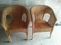Wicker chairs x 2