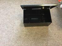Large black Heavy duty metal box with hinged lid custom made like new