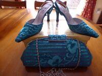 Women's Farfalla Teal Satin Bead/Sequin Court Shoes UK36 & matching bag