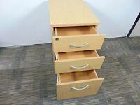 Oak Effect 600mm Deep Desk High Office 3 Drawer Desk Pedestal