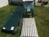 Full set - Sun Loungers x 2 , matching table , padded seat and pillow , - all brand new