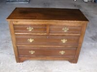 Chest of drawers, 4 drawer, all pine, stained mahogany, 41 x 19 x 31in