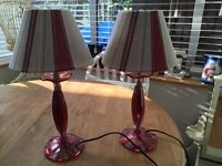 Two table lamps ,pictures,lamp shade,Laura Ashley rug ,Laura Ashley throw ,mirror, cd player