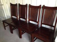Four Lombok Dark Teak High Back Camel Chairs