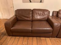 X1 Brown Leather Sofa / x1 Sofa-Bed / x1 Footstool - Reduced from £250 to £100 ono