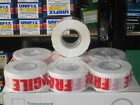fragile tape packaging 48mmx150mtr long 6 rolls 900mtrs packaging brown clear