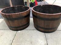 2 barrel planters