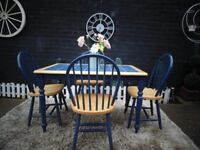 SOLID PINE BLUE DINING TABLE WITH 4 PINE CHAIRS WITH TILES ON TOP SOLID SET