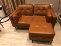 Dwell Paris Collection Tan Leather Two Seater Sofa and Storage footstool set