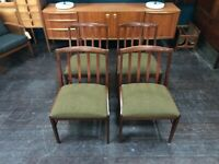 Mid Century Dining Chairs with Fabric Seat Pads, Set of 4. Retro Vintage