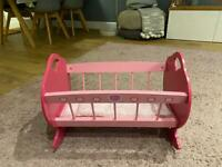 Wooden Baby doll toy cot - excellent condition