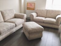 Beautiful 3 seater sofa, 2 seater sofa and footstool with storage
