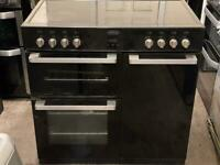 Belling electric range cooker 90cm ceramic black double oven 3 months warranty free local delivery